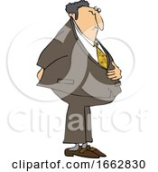 Cartoon Businessman Holding His Stomach And Butt