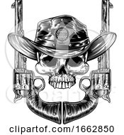 Poster, Art Print Of Pistols And Skull With Sheriff Star And Cowboy Hat