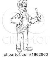 08/12/2019 - Electrician Cartoon Handyman Plumber Mechanic