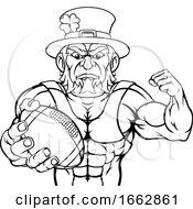 Poster, Art Print Of Leprechaun Holding Football Ball Sports Mascot