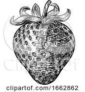 Strawberry Vintage Woodcut Illustration