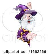 Wizard Peeking Round Sign Pointing