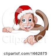 08/12/2019 - Christmas Monkey Cartoon Character In Santa Hat