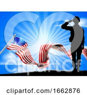 American Flag Saluting Soldier Background