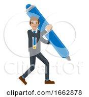 Business Man Holding Pen Mascot Concept