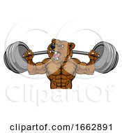 Bear Mascot Weight Lifting Barbell Body Builder