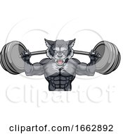 Wolf Mascot Weight Lifting Barbell Body Builder
