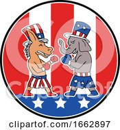 Poster, Art Print Of American Donkey And Elephant Boxing Usa Flag Doodle