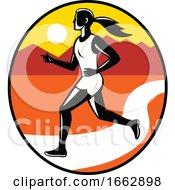 Female Runner Mountains Oval Retro