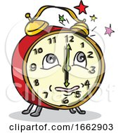 Traditional Alarm Clock Waking Up Cartoon by patrimonio