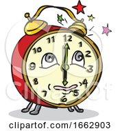 Traditional Alarm Clock Waking Up Cartoon