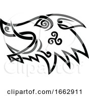 Boar Head Celtic Knot Black And White Stencil
