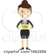 Woman Holding Tax Sign