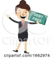 Woman With Debt Free Sign by Morphart Creations