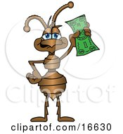 Clipart Picture Of An Ant Bug Mascot Cartoon Character Holding Up A Green Banknote by Toons4Biz