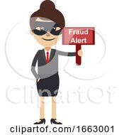 Woman With Fraud Sign