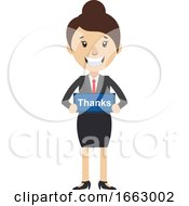 Woman With Thanks Sign