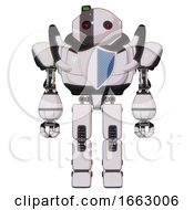 Mech Containing Oval Wide Head And Small Red Led Eyes And Green Led Ornament And Heavy Upper Chest And Blue Shield Defense Design And Prototype Exoplate Legs