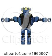 Bot Containing Flat Elongated Skull Head And Yellow Eyeball Array And Heavy Upper Chest And Chest Vents And Prototype Exoplate Legs