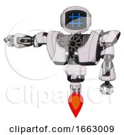 Automaton Containing Digital Display Head And Hashtag Face And Heavy Upper Chest And Heavy Mech Chest And Jet Propulsion