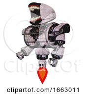 Robot Containing Chomper Head Design And Heavy Upper Chest And Heavy Mech Chest And Barbed Wire Chest Armor Cage And Jet Propulsion