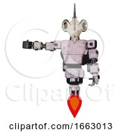 Droid Containing Bird Skull Head And Yellow Led Protruding Eyes And Light Chest Exoshielding And Prototype Exoplate Chest And Rocket Pack And Jet Propulsion