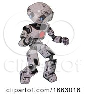Mech Containing Oval Wide Head And Telescopic Steampunk Eyes And Light Chest Exoshielding And Red Chest Button And Prototype Exoplate Legs
