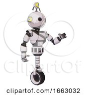 Droid Containing Oval Wide Head And Minibot Ornament And Light Chest Exoshielding And Rubber Chain Sash And Unicycle Wheel