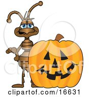 Ant Bug Mascot Cartoon Character With A Halloween Pumpkin