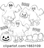 Black And White Kids In Halloween Ghost Costumes