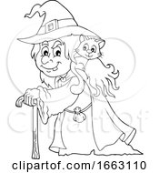 Black And White Halloween Witch With A Cat On Her Shoulder