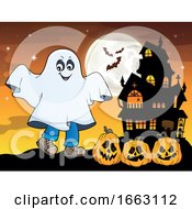 Kid In A Halloween Ghost Costume