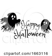 Happy Halloween Greeting And Ghosts
