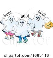 Kids In Halloween Ghost Costumes