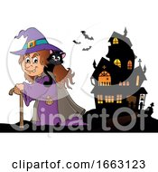 Halloween Witch With A Cat On Her Shoulder