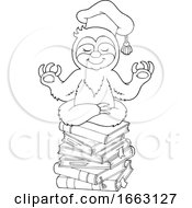 Black And White Meditating Professor Sloth On A Stack Of Books by visekart