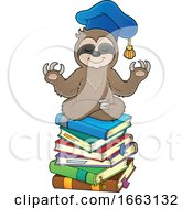 Meditating Professor Sloth On A Stack Of Books by visekart