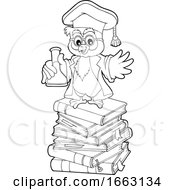 Poster, Art Print Of Professor Owl Holding A Science Flask On A Stack Of Books