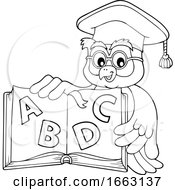 Professor Owl Holding An Alphabet Book
