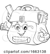Black And White School Bag Character Giving A Thumb Up