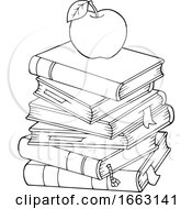 Poster, Art Print Of Black And White Apple On Books