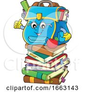 Poster, Art Print Of School Bag Character Giving A Thumb Up On A Stack Of Books