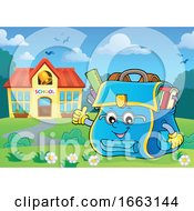 Poster, Art Print Of School Bag Character Giving A Thumb Up By A Building