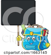 School Bag Character Holding A Sign