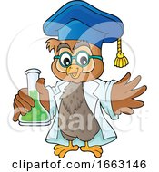 Professor Owl Holding A Science Flask