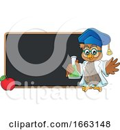 Poster, Art Print Of Professor Owl Holding A Science Flask By A Blackboard