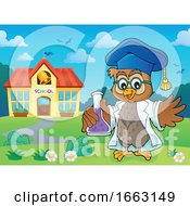 Professor Owl Holding A Science Flask By A School