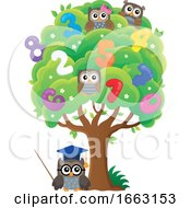 Professor Owl And Students At A Number Tree