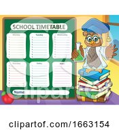 Poster, Art Print Of Professor Owl Holding A Science Flask By A Timetable