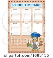 Professor Owl Holding A Science Flask By A School Timetable